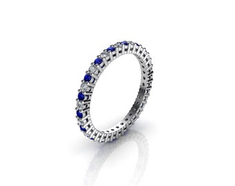 0.50 CT. Diamond & Sapphire Eternity Ring With Open Gallery