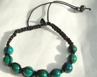 Bracelet macrame with Chrysocolles