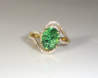 2.88 Carat Demantoid Garnet With Diamond Ring in 14K Yellow gold  (13509)