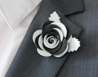 Black and white rose lapel pin, Mens lapel flower Boutonniere,Lapel Flower pin, rose boutonniere, flower lapel pin, mens gift,