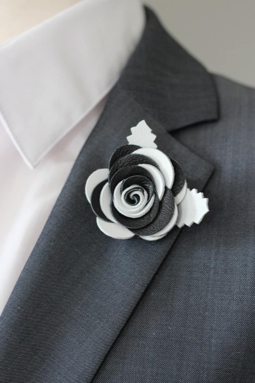 Black and white rose lapel pin mens lapel flower zoom dhlflorist Choice Image