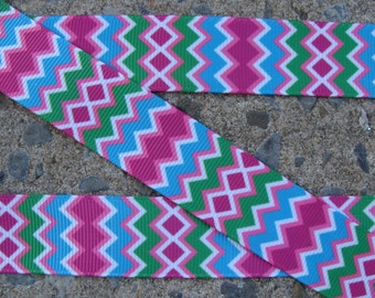 "3 yards Grosgrain Chevron Ribbon 7/8"" Blue Pink Green Chevron Ribbon"