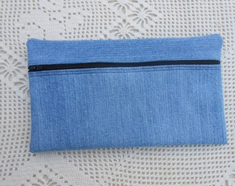 Denim pouch, Lined Pencil case from upcycled denim jeans, no handle, handmade, wrist purse, cosmetic case, large wallet, art supply 168