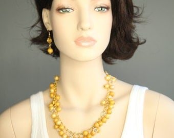 DBC  DiJon yellow Cluster Necklace and Earring Set