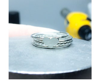 Heart Stacking Ring Set - Sterling Silver Rings