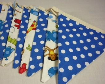 3.5m, 12 Flag Bunting, Zoo Animal & Blue Polka Dot, Childrens/baby