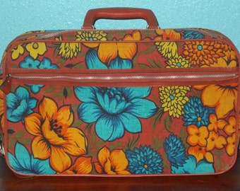 60s Vintage Overnight Bag Mod Flower Power Soft Side Canvas CarryOn