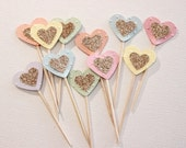 Cupcake Toppers. Pastel Hearts with Small Glitter Heart Centres. Pack of Twelve. Wedding - Engagement - Formal Function