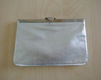 Silver Clutch Party Disco Purse Handbag 1970s Lame Cocktail