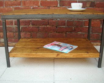 Industrial rustic coffee table with shelf