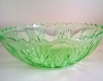 Art Deco Green Pressed Glass Fruit Bowl