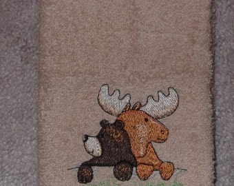 Embroidered ~NORTH WOODS Welcome~ Kitchen Bath Hand Towel
