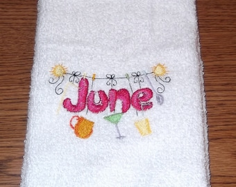 Embroidered ~JUNE CLOTHESLINE~ Kitchen Hand Towel