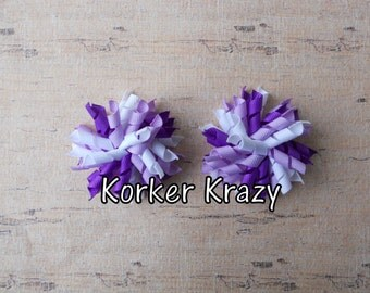 Purple and White Mini Korker Bows