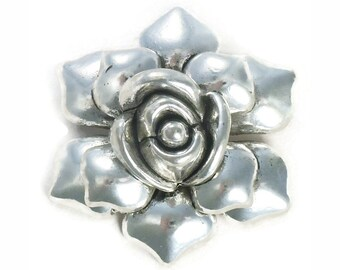 1 Flower Silver Rose Charm Pendant Large 50x48mm by TIJC SP0837