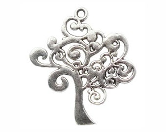 5 Silver Tree Charm Large 42x37mm by TIJC SP0850