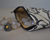 Rounded Black White and Yellow Abstract Lines Zipper Pouch with Machine Embroidery