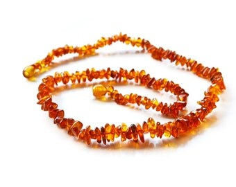 Baltic amber chips necklace. For Adults. Chips amber beads necklace. 1501