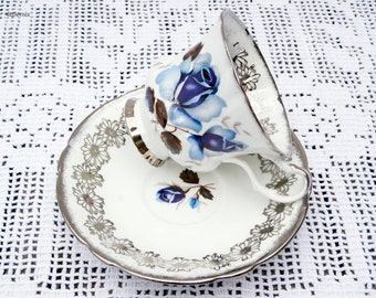 Vintage Windsor Bone China Made in England 'Blue Rose' Silver Gilt Cup and Saucer