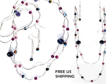 Swarovski Crystal Elements and Silver Necklace and Earrings Set