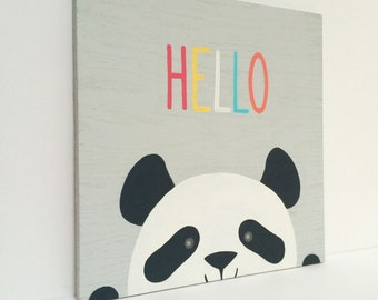 Panda Nursery Art - Gender Neutral Nursery - Animal Nursery Art - Black and White Nursery - Modern Nursery Wall Art - Panda Art - Hello Sign