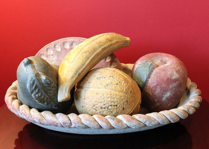 Ceramic Platter With Ceramic Fruit Hand Made Of Clay Ceramic