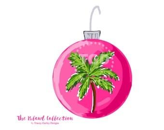 Preppy Pink Christmas Ornament Clip Art - Christmas Clipart, watercolor clip art, digital clip art, invitation clipart
