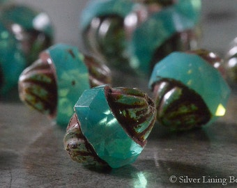 Twirling Seas (6) - Czech Glass Bead - 10x11mm - Turbine