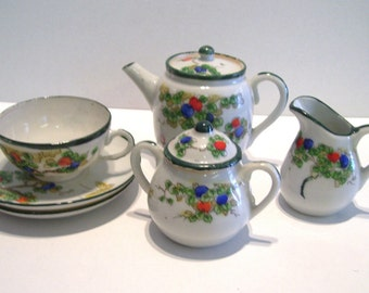 Nippon Childs Tea Set Doll Childrens Dishes AS IS Vintage