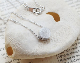 Personalized hammered circle disc necklace A-111