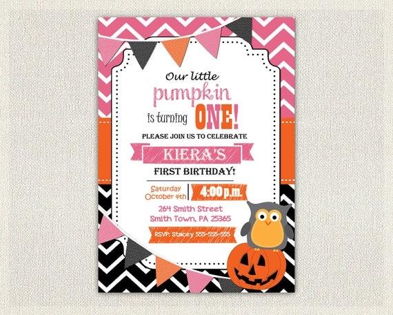 Girls 1st Birthday Invitation Pink Orange and Black Little