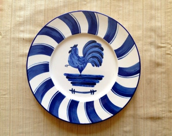 The Blue Rooster 12 3/4 inch plate, blue & white plate Sunrise by Mikasa