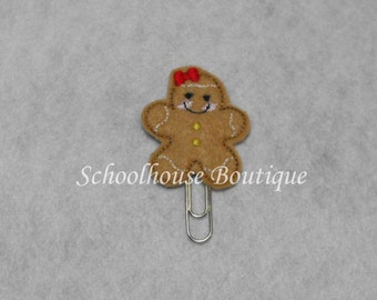 Gingerbread Girl with Bow felt paperclip bookmark, felt bookmark, paperclip bookmark, feltie paperclip, christmas gift, teacher gift