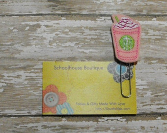 Strawberry Frappe Coffee felt paperclip bookmark, felt bookmark, paperclip bookmark, feltie paperclip, christmas gift, teacher gift