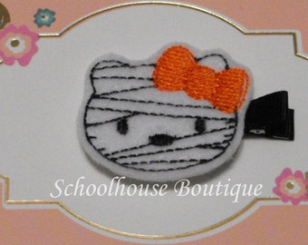 Mummy Kitty Cat with Orange Bow Felt Hair Clips, Felties, Feltie Hair Clip, Felt Hairbow, Felt Hair Clips, Felt Hair Clippie