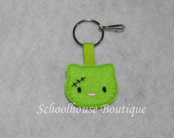 Zombie Kitty Cat Felt Zipper Pull, Felt Keychain Fob, Felt Key Ring, Felt Key Fob, Purse Accessory, Luggage Tag