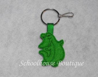 Standing Alligator Felt Zipper Pull, Felt Keychain Fob, Felt Key Ring, Felt Key Fob, Purse Accessory, Luggage Tag
