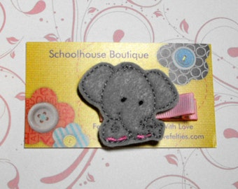 Gray Elephant Felt Hair Clips, Felties, Feltie Hair Clip, Felt Hair Clip, Felt Hair Clippie, party favor