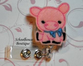 Pink Pig with Bow felt badge reel, name badge holder, nurse badge, ID holder, badge reel, retractable badge clip, feltie badge reel