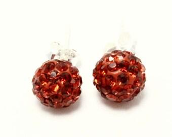 Fireball Red Earrings .925 Sterling Silver Stud Crystal 8mm 1.20 Grams