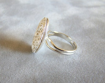Plain and Simple Silver Essential Oil Diffuser Ring, Aromatherapy Ring