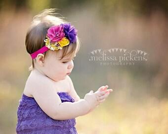 Hot pink purple yellow mustard headband // bright summer baby girl headband