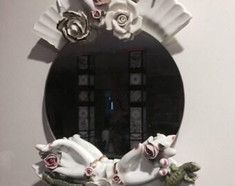 Mirror Assemblage Ceramic Venus with Lizards