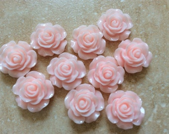 10 pcs 14 mm Soft Pink Cabochon Flower,Baby Pink resin flower, light Pink rose cabochon,14 mm soft Pink rose,Pink cabochon flower,flower kit