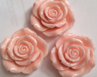 Ship from USA ,,,2 pcs 43 mm Rose, Cabochon Flowers..PearlPink Rose ,big flower . Perfect for pendant