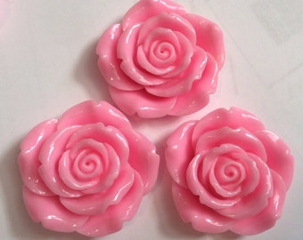 Ship from USA ,,,2 pcs 43 mm Rose, Cabochon Flowers..LightPink Rose ,big flower . Perfect for pendant