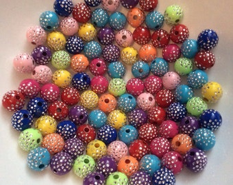 100 pcs 8 mm Mixed Silver Accent Acrylic Beads, mixed Round Bead , mixed Acrylic Bead, 10 mm Resin Bead,BubbleGum Bead,mixed 10 mm bead