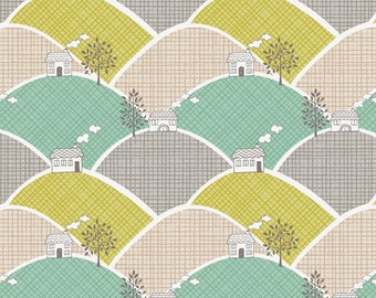 Lewis & Irene Patchwork Quilting Fabric - Lime A011-1 Town and Country