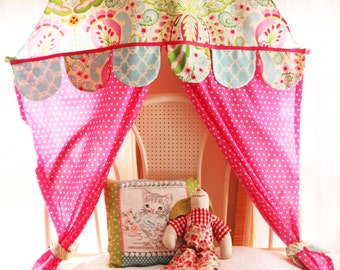 Corner Play Tent Bed Canopy Banner Kumari Garden Nursery Puppet Show Kids Tent Canopy Hanging Reading Nook Girls Room Circus Polka dots