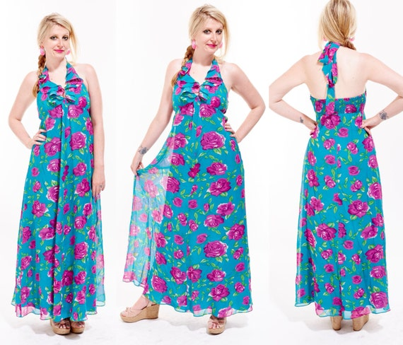 BETSEY JOHNSON Silk Botanical Floral Ruffle HALTER Top Maxi Dress Tropical Resort Designer Colorful Boho Hippie Festival hawaiian backless